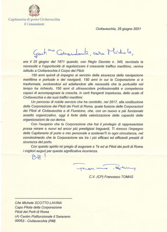 Lettera ricevuta dal Comandante del Porto